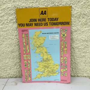Vintage AA UK Map Sign