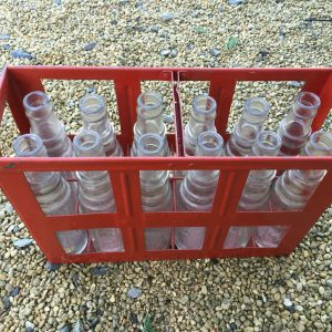 Vintage Automobilia 12 Esso Glass Oil Bottles in Essolube Crate