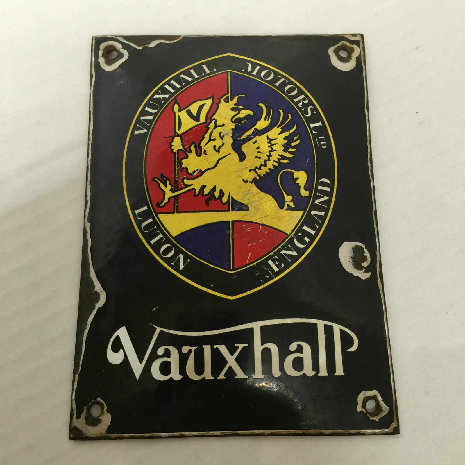 Vintage Vauxhall Motors Ltd Luton England Sign