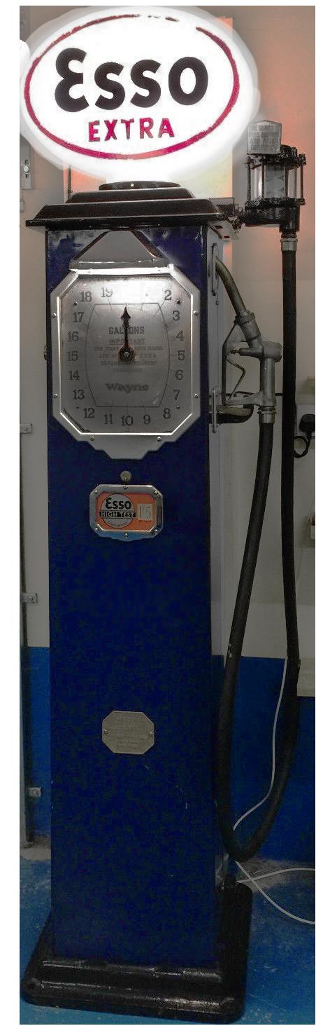 Vintage Wayne Petrol Pump Plus Original Esso Glass Globe Automobilia