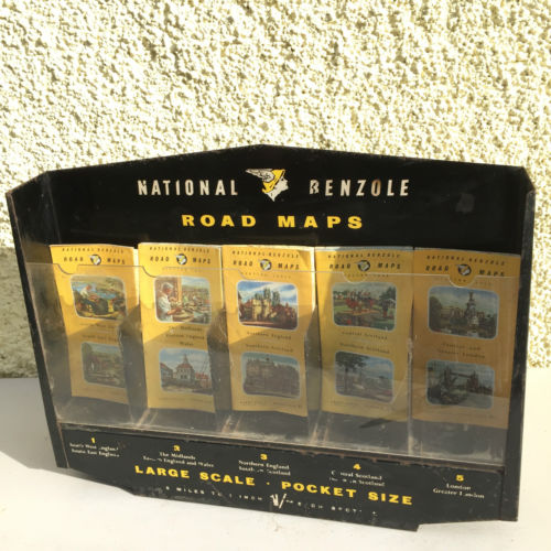 Vintage National Benzole Road Maps Wall Display with Maps