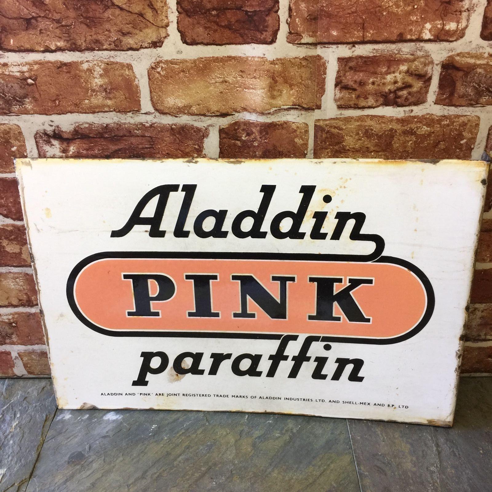 Vintage Aladdin Pink Paraffin Sign
