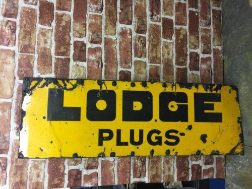 Vintage Lodge Plugs Enamel Sign