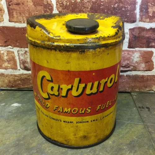 Vintage Yellow Carburol World Famous Fuel Tank