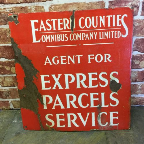 Vintage Red Eastern Counties Omnibus Company Limited Express Parcels Service Sign