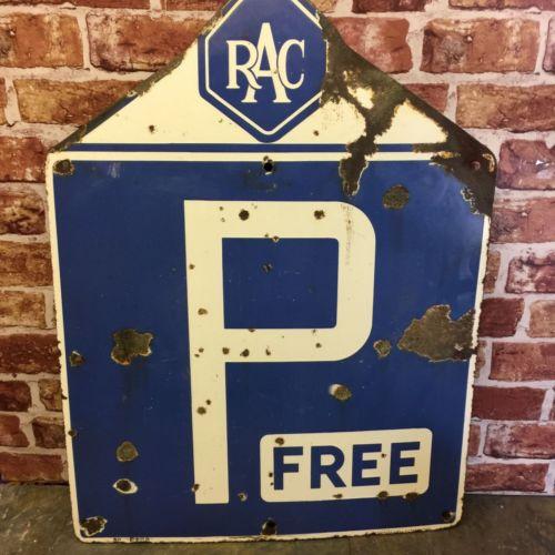 Vintage Blue RAC P Free Sign
